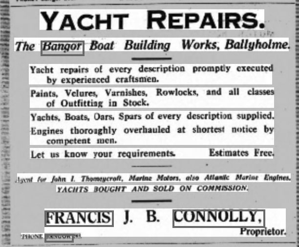 Advert in the Belfast Newsletter, 16 July 1921