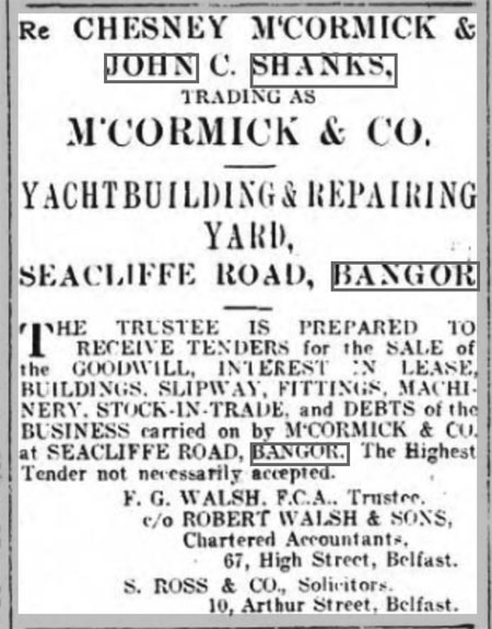 Sale of McCormick yard, Belfast Newsletter 30 October 1924